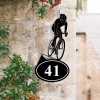 Cyclist Iron House Number Sign Created Out of Iron