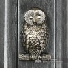 Antique Pewter Owl Door Knocker on a Dark Grey Door