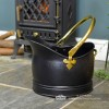 Polished Brass & Black Iron Traditional Coal Bucket in Situ Next to the Fireplace