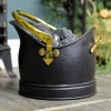Polished Brass & Black Iron Coal Bucket Holding Coal