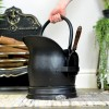 Black Traditional Coal Bucket With Shovel to Scale