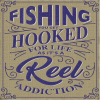 """Hooked on Fishing"" Metal Sign"