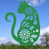 Floral Cat Silhouette in Green