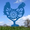 Floral Hen Silhouette in Blue