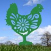 Floral Hen Silhouette in Green