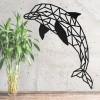 Geometric Dolphin Wall Art on a Rustic Grey Wall