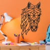 Geometric Horse Head Wall Art in Situ on an Orange Wall