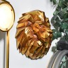 Side View of the Gold Geometric Lion Head Wall Art