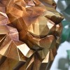 Close-up of the Gold Finish on the Geometric Lion Head Wall Art