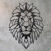 Geometric Lion Steel Wall Art on a Rustic Wall