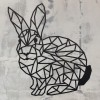 Geometric Rabbit Wall Art in Situ on a Rustic Wall