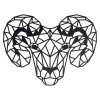 Geometric Steel Ram Wall Art in Black