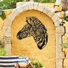 Geometric Zebra Head Wall Art in Use on a Yellow Garden Wall