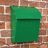 Green Lockable Contemporary Post Box In Situ