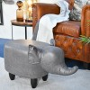Grey Elephant Leather Stool in Situ in a  Modern Sitting Room