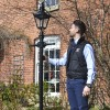 Scale image of 2.2m Traditional Lamp post set outside house.