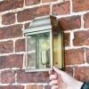 """Heathfield"" Antique Brass Half Wall Lantern to Scale"