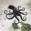 Octopus Wall Art in Situ on a Rustic Brick Wall