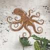 Octopus Rustic Wall Art in Situ on a Rustic Brick Wall