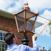 Copper Victorian lantern with hinged door