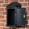 Black letter box with lockable door