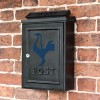 "Wall Mounted Post Box Finished in Black with a Blue ""Contemporary Cockerel"" Design"