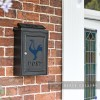 """Contemporary Cockerel"" Wall Mounted Post Box in Situ by the Front Door"