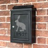 "Wall Mounted Post Box Finished in Black with a Grey ""Hare"" Design"