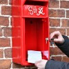 Close up of Redford Keep King George Post Box with Door Open