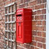 Side view of Red Redford Keep King George Post Box Mounted to Wall