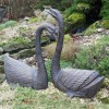 """The Two Designs of the """"Ledia Lakes"""" Cast Aluminium Swan Garden Sculpture Outside in Situ"""