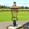 81cm Brass Gothic Pillar Light and Lantern Set on a Brick Pillar