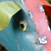"""close-up of the Face on the """"Marnford Estate"""" Pig Sculpture"""