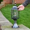"""""""Marsden"""" Silver Leaded Glass Pillar Light to Scale"""