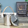 Modern Stainless Steel Ash Bucket in Situ Next to the Fire Place