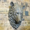 Side view of grizzly bear bust