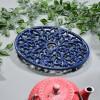 Blue Cast Iron Oval Trivet with Teapot