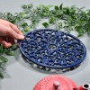 Blue Cast Iron Oval Trivet to Scale