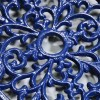 Blue Cast Iron Oval Trivet Close-Up