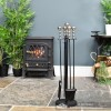 Traditional Nickel and Black Powder Coated Companion Set in Situ Next to The Fire Place