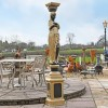 """""""Lady Hestia"""" Cast Iron Statue Column Finished in Black & Gold"""