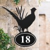 Bespoke Pheasant Iron House Number Sign in Situ