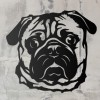 Pug Metal Wall Art Silhouette on a Rustic Wall