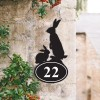 Bespoke Rabbit  Iron House Number Sign on a Garden Wall