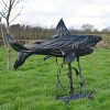 Recycled Rubber Car Tyre Shark Sculpture  From the side