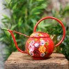 Red Narrowboat Watering Can with Floral Design