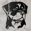 Rottweiler Metal Wall Art Silhouette on a Rustic Wall