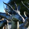 Recycled Metal Antelope With Long Antlers