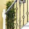 Black Iron Rope Twist Double Basket Stair Spindle