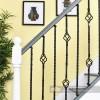 Pair of alternating pattern iron stair spindles